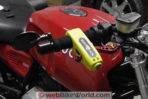 Grip Lock Installed on Motorcycle