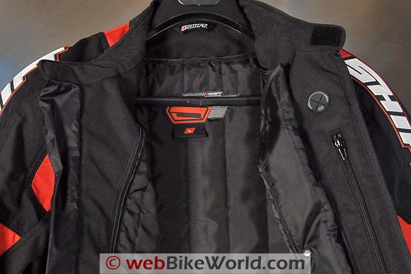SHIFT Streetfighter SS Waterproof Jacket. Liner and MP3 Pass-through (right).