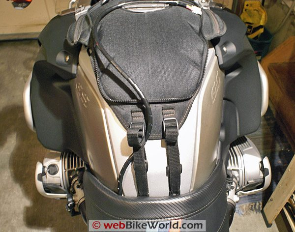 AKE PowerCom Wiring Harness on Tank Bag