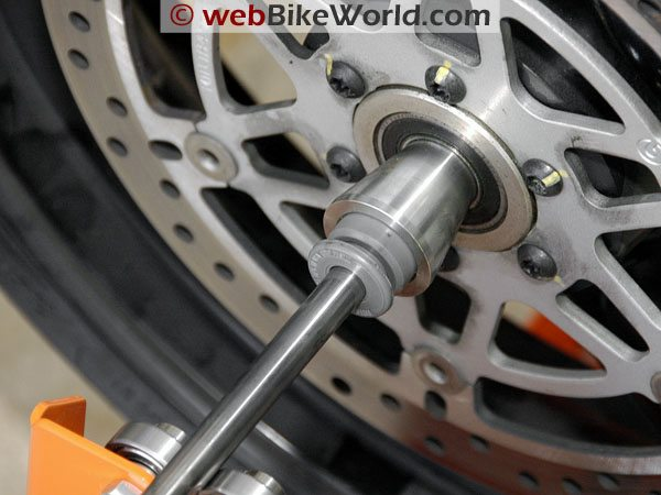 Tachyon Motorcycle Wheel and Tire Balancer - Cone in wheel close-up
