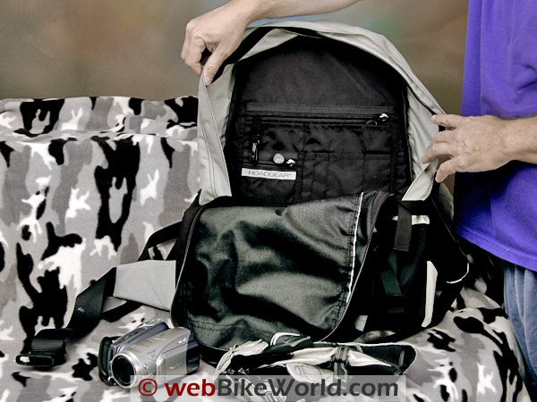 Large Motorcycle Backpack - Inside View