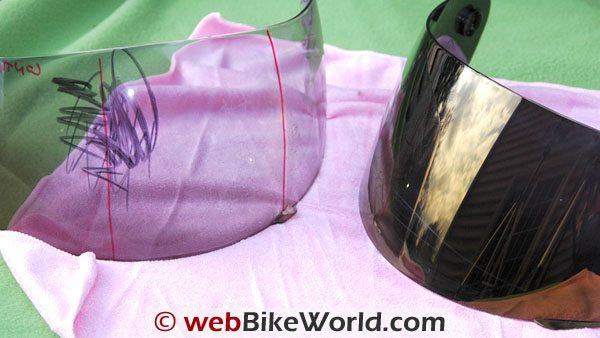 Aegis visor on right wipes clean
