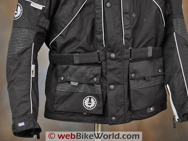 British Motorcycle Gear BMG Discovery Jacket - Lower Front, Jacket Pockets