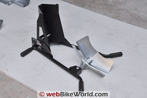 Acebikes SteadyStand Multi portable motorcycle front wheel stand and wheel chock.