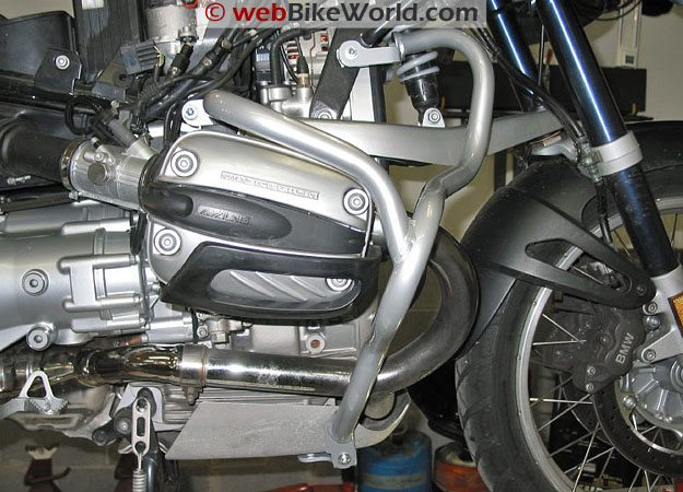 Motorcycle Crash Bars - Side View of Mounting