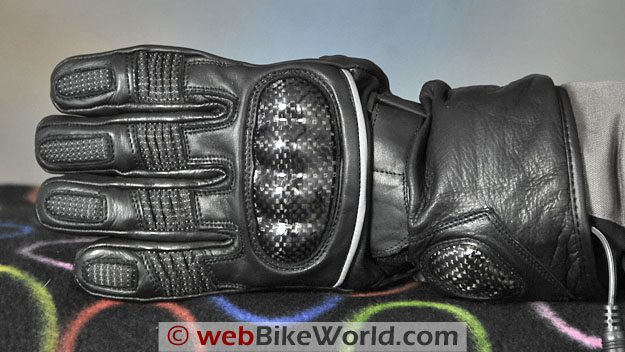 Firstgear Carbon Heated Gloves - Back Side and Carbon Fiber Knuckle Protector