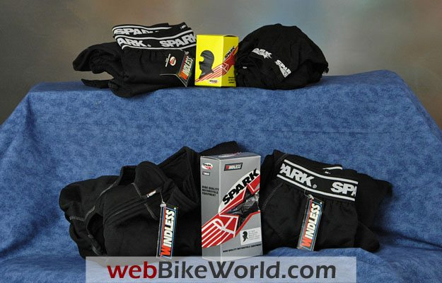Variety of Spark motorcycle underwear products