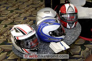 A gaggle of Lazer helmets.