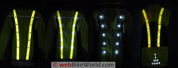 LEDwear LED Safety Jacket - Showing LED Lights and Reflectivity