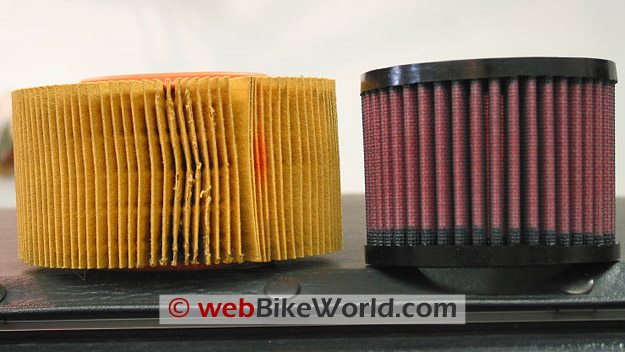 K&N Air Filter and BMW OE Air Filter, Side View