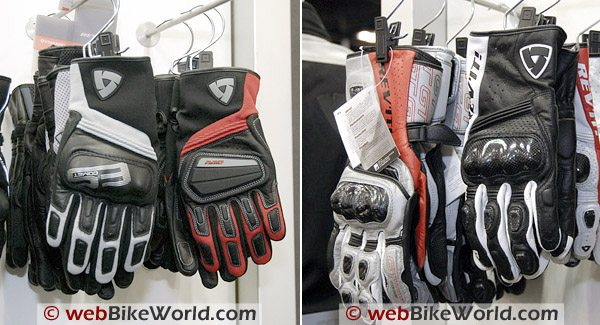 "Photo Left: Rev'it ""Comet"" glove (L) and ""Giri"" glove (R). Photo Right: Rev'it ""GT Corse"" gloves on the left."