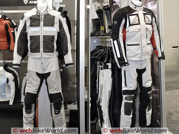 Rev'it Turbine jacket and pants outfit (L). Cayenne Pro jacket and pants (R).