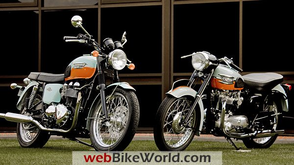 2009 Triumph Bonneville 50th Anniversary Edition (L) and original Bonneville (R).