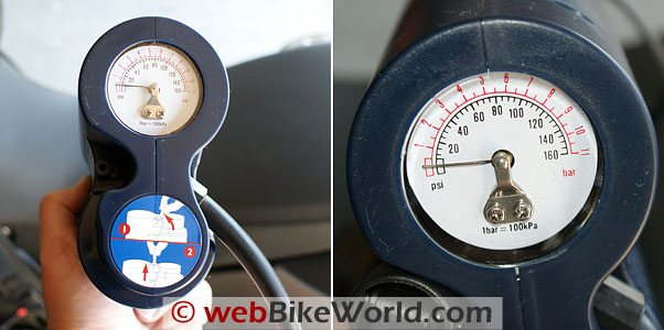 AirMan Motorcycle Tire Air Compressor with built-in -- and fairly accurate -- tire air pressure gauge.
