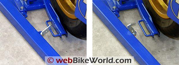 Titan Bulldog Moto Cradle Motorcycle Wheel Chock - Locking Mechanism