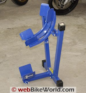 Titan Bulldog Moto Cradle Motorcycle Wheel Chock - Storage Position