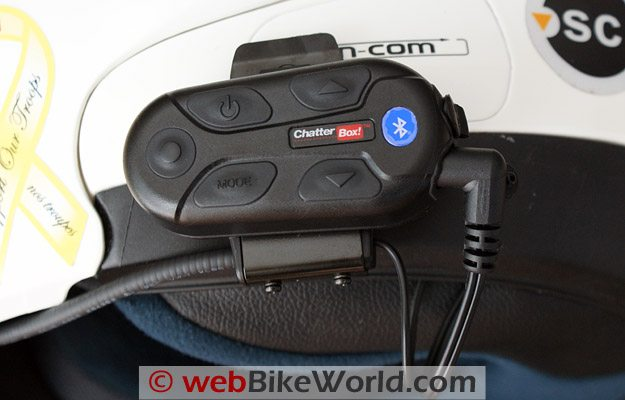 Chatterbox XBi Intercom on Helmet - Close-up