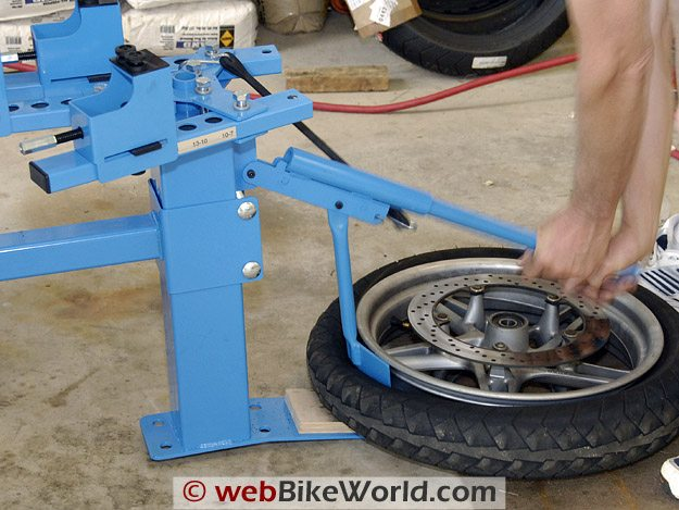 Breaking a bead with the Cycle Hill Motorcycle Tire Changer.