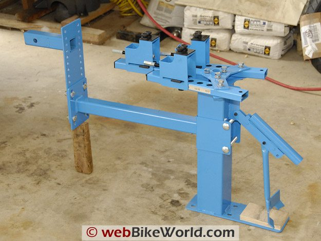 The Cycle Hill Motorcycle Tire Changer folds for storage.