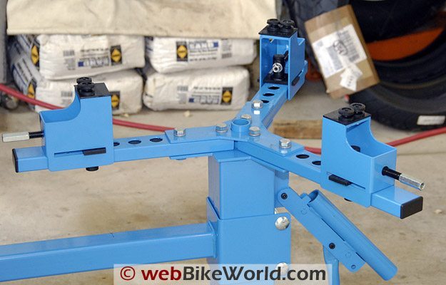 Cycle Hill Motorcycle Tire Changer wheel holder can be adjusted.