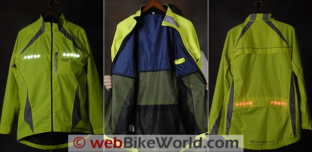 LEDwear Aurora LED Jacket showing LED lights.