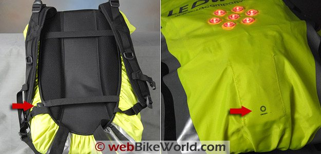 LEDwear LED Backpack Cover - Straps and Power Switch