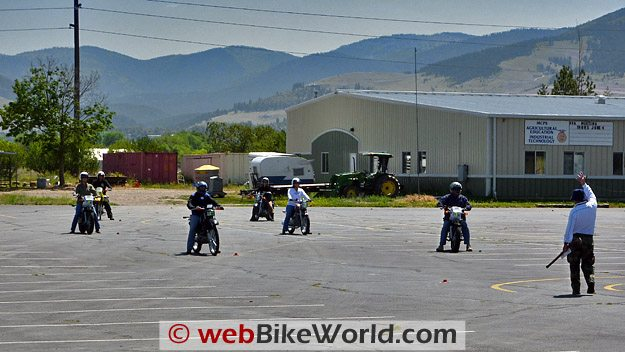Instructor starting a drill at the Motorcycle Safety Foundation MSF Basic RiderCourse