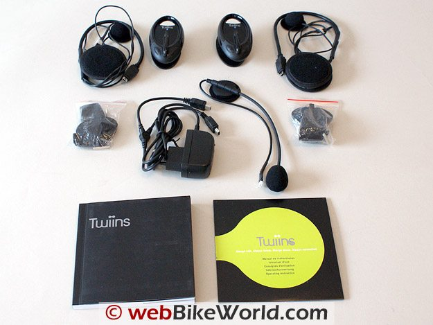 Twiins Motorcycle Bluetooth Intercom - Contents of Kit