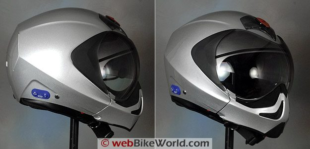 Vemar CKQI Bluetooth Motorcycle Helmet - With Chin Bar Installed