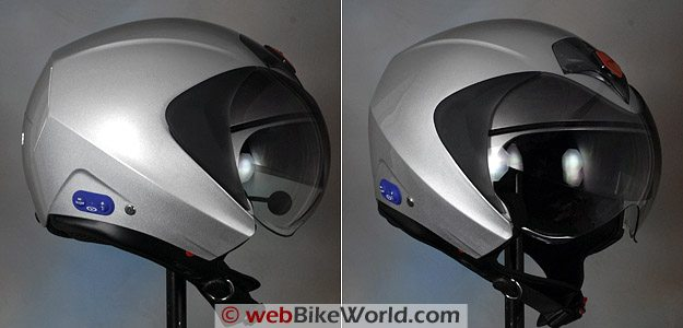Vemar CKQI Bluetooth Motorcycle Helmet in Open-Face Mode