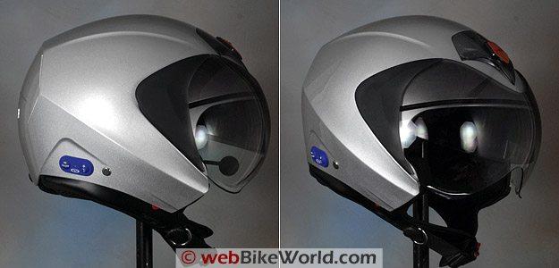 Vemar CKQI Bluetooth Motorcycle Helmet in Open-Face Mode
