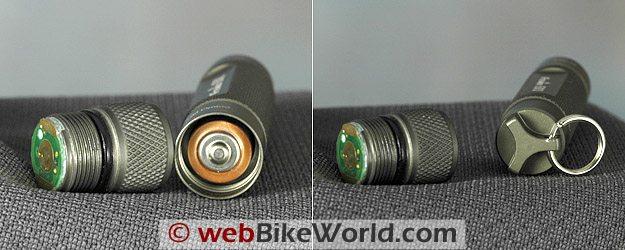 Fenix E01 LED flashlight. Screw-in head (L) and flat base with keychain loop (R).