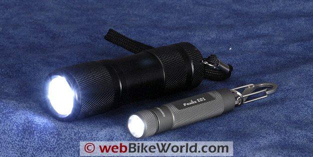 The Gordon LED flashlight (L) vs. the Fenix E01.