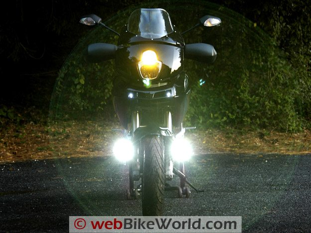 Clearwater Motorcycle LED Driving Lights at Full Power