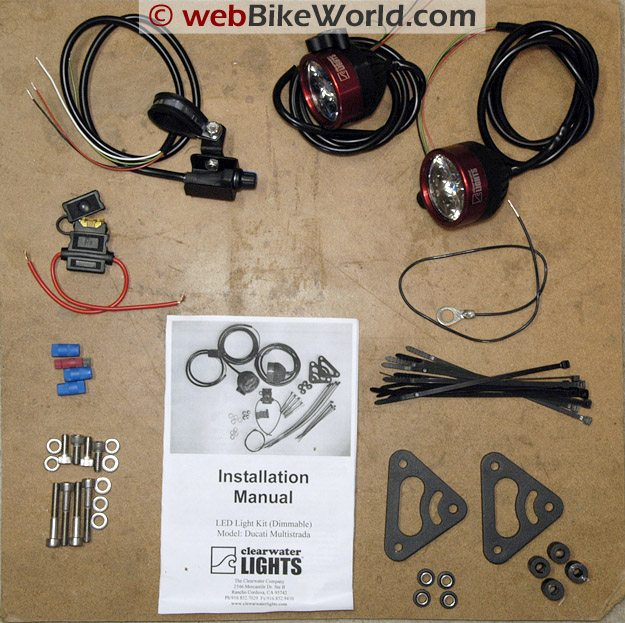 Parts included in the Clearwater Motorcycle LED Driving Light Kit