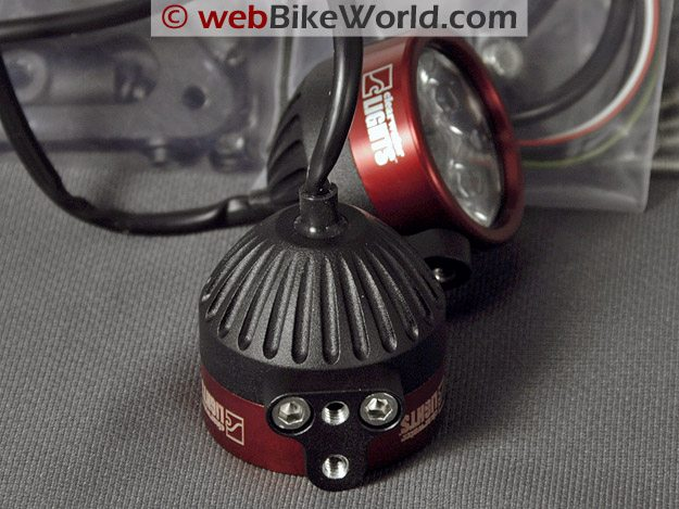 Close-up of Clearwater Motorcycle LED Driving Light Housing