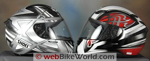 Shoei RF-1000 on the left and the new Shoei RF-1100 on the right.