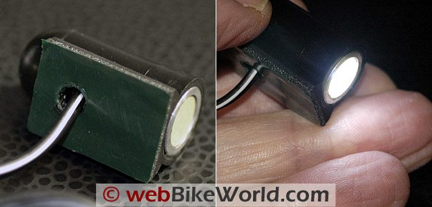 BikeVis Bullet LED Lights close-up on and off