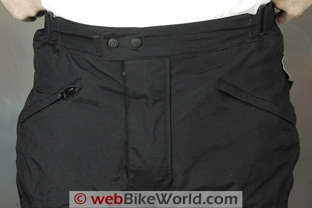 Front Waistband of the Firstgear Escape TPG Textile Pants