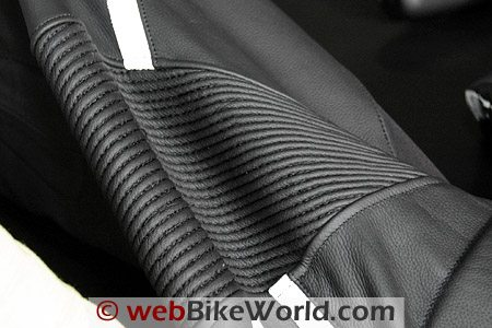 One-piece leather accordion pleats on the Victory suit.