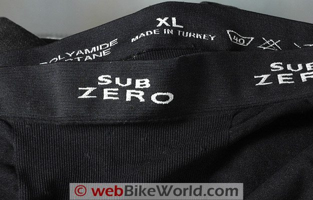 Close-up of the Factor 1 shorts, the only item not made in England.