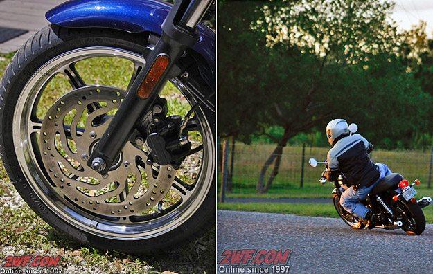 2009 Triumph Bonneville SE Brakes (L) and Rider