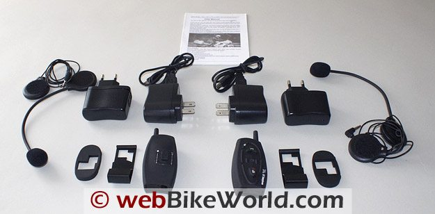AKE BT Multi-Interphone Motorcycle Intercom - Kit Contents