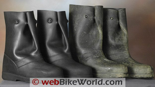 New (L) and Original Versions of the Treds Waterproof Motorcycle Rain Boots
