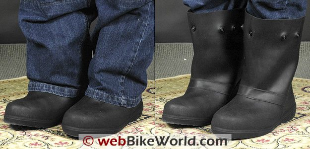 Treds Waterproof Motorcycle Rain Boots on Rider
