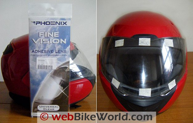 Fine Vision Visor Insert - Package (L) and Mounting (R)