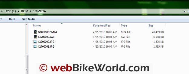 Screen Shot of File Sizes