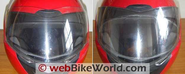 Fine Vision Visor Insert - Before (Left) and After (Right) Mounting