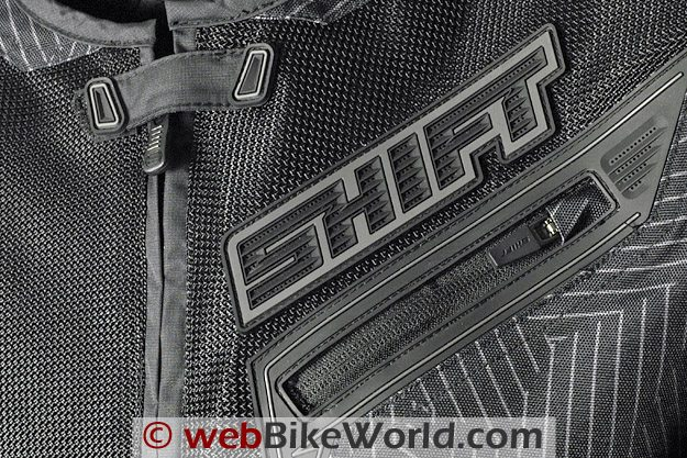 Shift Trifecta Jacket - Close-up of Mesh, Neck and Front Pocket