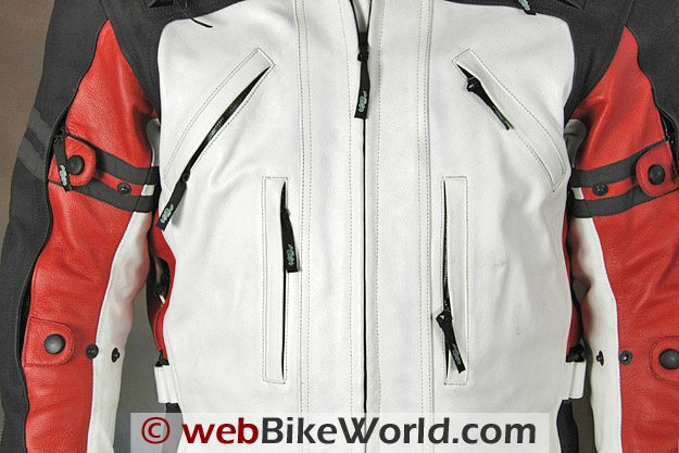 Teiz Motorsports Camino Jacket - Front pockets, chest vents and sleeve adjusters.